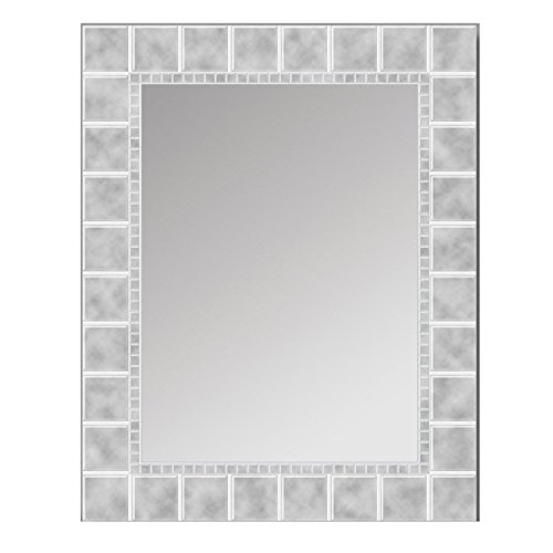 Head West Decorative Large Glass Block Mirror (White Mirror Border)