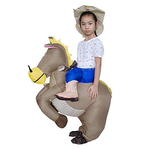 MoreToys Inflatable Horse Rider Halloween Blow Up Costume Fancy Dress for Adults and Kids (Kid's Size) -