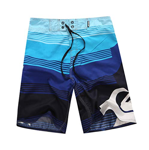 NUWFOR Men's Fashion Casual Printing Patchwork Beach Surfing Swimming Loose Short Pants(Blue,US S Waist:30.7'') by NUWFOR (Image #1)