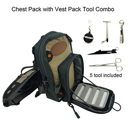 Aventik Fly Fishing Chest Bag Ultra Light Multiple Pockets Chest Pack with Vest Pack Tool Combo(Chest Bag Combo A)