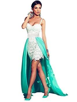 Nuevo color blanco Crochet y verde larga cola vestido de fiesta noche cóctel club vestido de