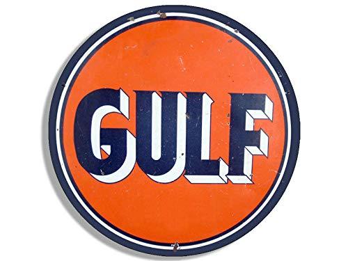 MAGNET 4x4 inch Round Vintage GULF Logo Sticker - gas sign rat rod motor car gasoline Magnetic vinyl bumper sticker sticks to any metal fridge, car, signs