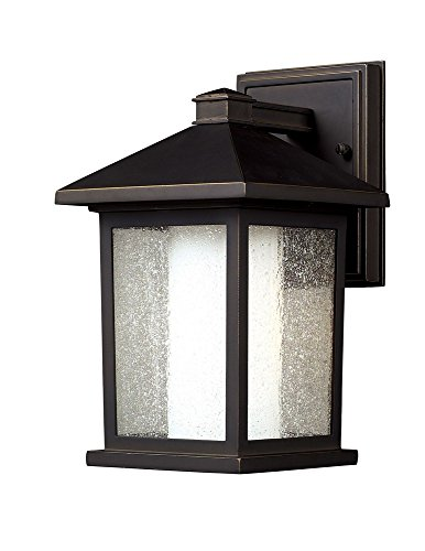 - Z-Lite 524S Mesa Outdoor Wall Light, Aluminum Frame, Oil Rubbed Bronze Finish and Seedy and Matte Opal Shade of Glass Material