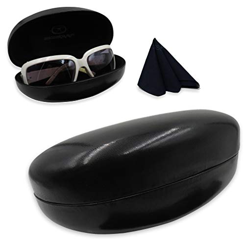 Black Plain Clam - Hard Eyeglass & Sunglasses Case | Oversized To Protect Glasses w/Large & Extra Large Frames | Men & Women | Smooth Black Clamshell | AS413