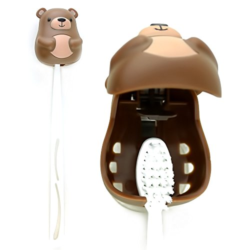 Kikkerland Brown Bear Suction Toothbrush Holder