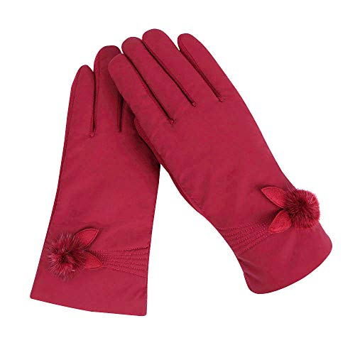 Pausseo Womens Lady Windproof Gloves Winter Outdoor Sport Ski Gloves Girls Keep Warm Solid Color Touchscreen Mittens Fleece Thicken Plush Outdoor Mittens Students Knitted Wool Casual Play Snow Glove
