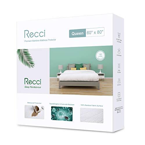 Recci Premium Bamboo Mattress Protector Queen Size - 100% Bamboo Fabric Surface Mattress Cover, Waterproof Bed Cover, Hypoallergenic, Vinyl Free?Queen Size?