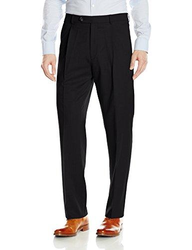 Hart Schaffner Marx Men's Single Pleat Chicago Fit Dress Pant, Black, 40 Regular