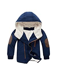 Staron Kids Children Boy Jacket Coat Winter Warm Hooded Fur Outerwear Zipper Coat