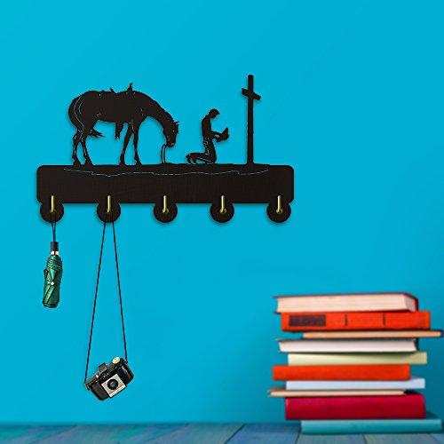 (A Higher Power Praying Cowboy Wall Hooks Coat Hanger Wild Animal Horse Home Decor Wall Art Clothes Hats Robe Hooks Bedroom Living Room Decor Hanger)