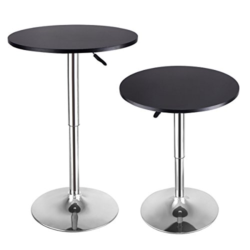COSTWAY Modern Round Bar Table Adjustable Bistro Pub Counter Wood Top Swivel Indoor (Black Wood Bar Table)