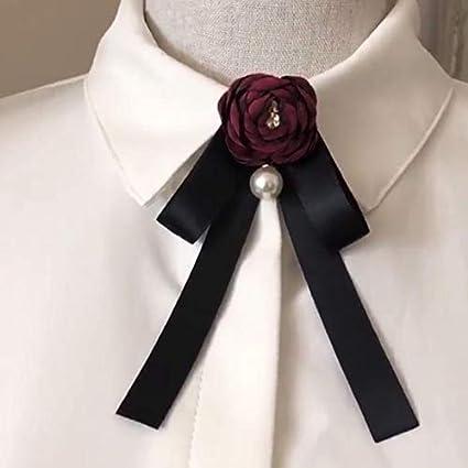 Cupcinu Femmes Noeud Papillon Fleur Broche Noeud Papillon Mode R/étro Broche Cravate Blouse Collier Accessoires 1pcs Rose
