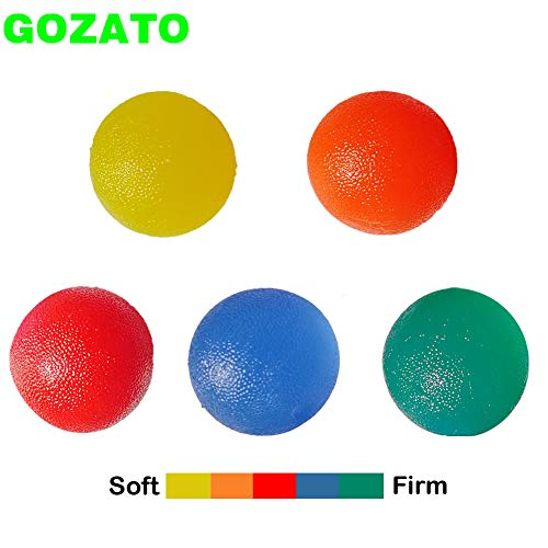 GOZATO Hand Exercise Balls - Grip Strengthening Physical, Occupational Therapy Kit - Squishy Stress, Arthritis Pain Relief Workout Set - Fidget Finger Muscle Squeeze Resistance Strength Egg Trainers