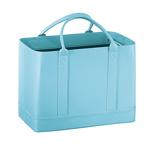 Leather Office Cabinet (Faux Leather File Organizer Tote Bag Large, Blue)