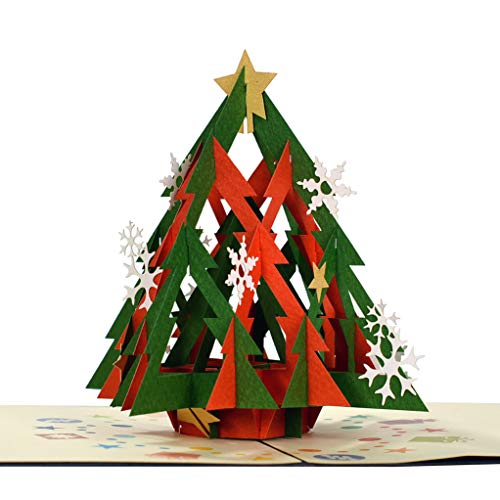 CUTEPOPUP's Christmas tree 3D Greeting Card, Impress Details, Includes Envelope- Ideal Gift for Family, Friends, Colleagues.