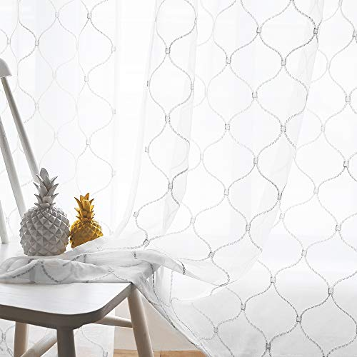 Embroidered Wave Diamond Sheer Curtains White 95 Inches, Window Treatments Rod Pocket Drapes for Living room, Bedroom, Semi Voile Curtain Panels for Yard, Patio, Villa, Parlor, Set of 2, 52