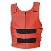 "Men's Red Leather Bullet Proof Style Motorcycle Biker Vest New All Sizes (XXXX-Large (Chest 56""))"