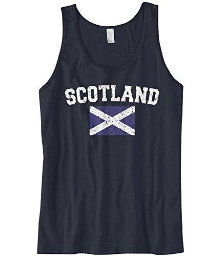 Cybertela Men's Faded Distressed Scotland Flag Tank Top (Navy, Small)