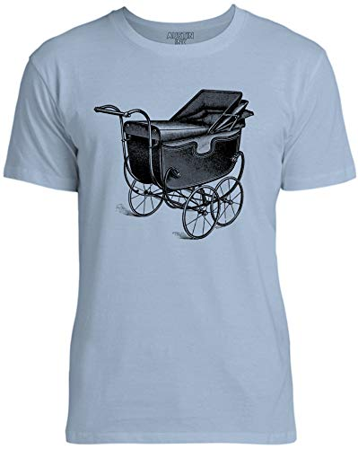 Austin Ink Apparel Antique Baby Carriage Unisex Womens Soft Cotton Tee, Light Blue, X-Large