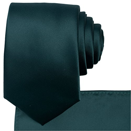 (KissTies Hunter Green Tie Set Satin Necktie + Pocket Square + Gift)