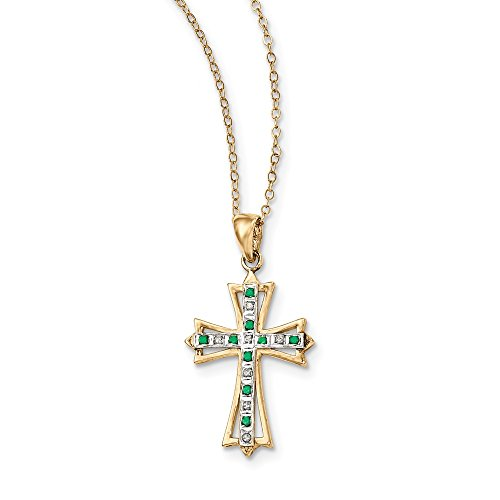 Jewelry Stores Network Gold Plated Diamond and Emerald Sterling Silver Cross Necklace 18 Inch 35x19mm