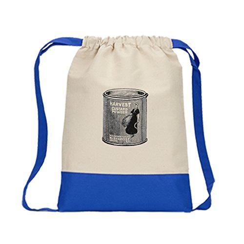 Canvas Backpack Color Drawstring Harvest Custard Powder Vintage Look | Royal Blue