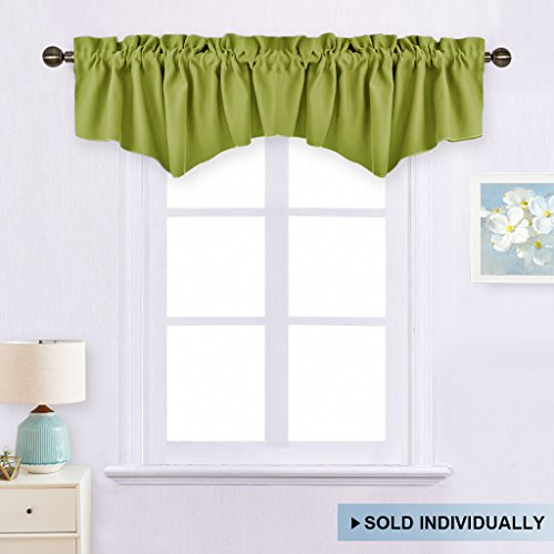 Fresh Green Kitchen Ascot Valance - Blackout Window Curtain 52-inch by 18-inch Rod Pocket Tier Valance by NICETOWN (Single Piece) (Valance Treatment Window Green)