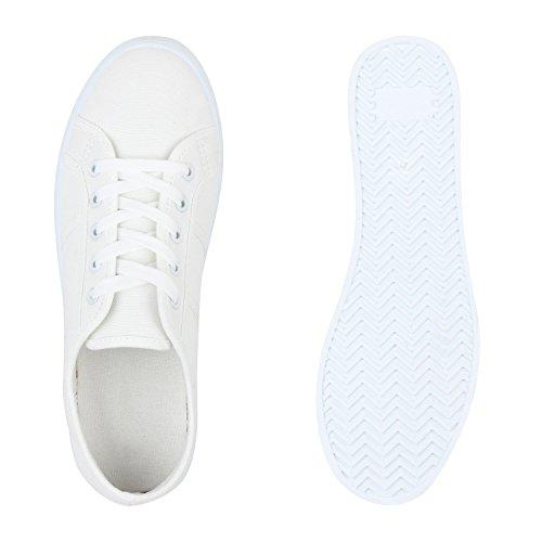 Übergrößen Unisex Weiss Glatt Herren Sneaker Damen Stiefelparadies Flandell Low A6wXAd