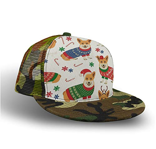 YongColer Casual Baseball Cap Trucker Hat Camouflage Hip Hop Hat (Christmas Pattern with Corgis) ()