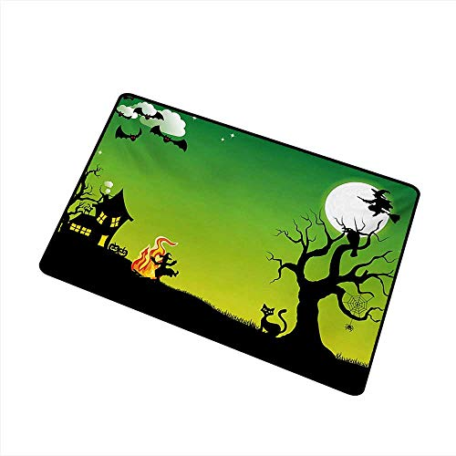 Entrance Door mat Halloween Witches Dancing with Fire and Flying at Halloween Ancient Western Horror Image W24 xL35 Quick and Easy to Clean ()