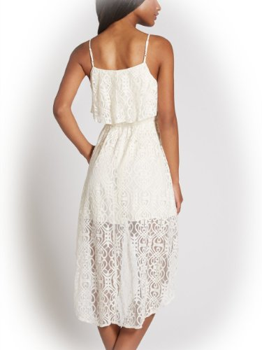 G by GUESS Women's Donelle High-Low Lace Dress, MILK (SMALL)