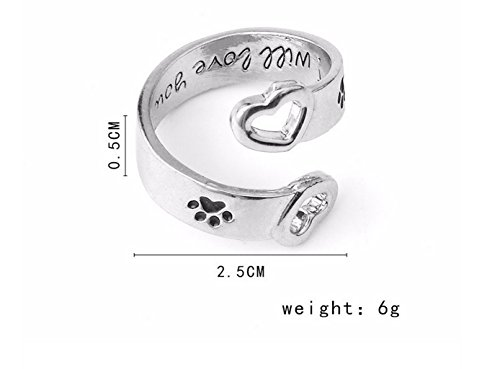 Cute Paw Print Ring I will Love You Forever Engraved Paw Print With Hollow Out Heart Ring (Silvery)