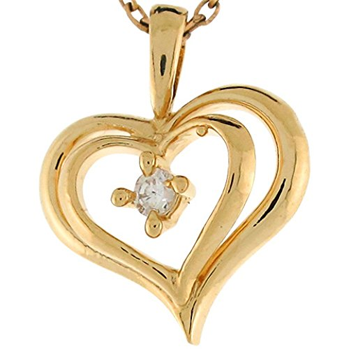 - Jewelry Liquidation 14k Yellow Gold Diamond 1.6cm Cute Double Open Heart Slide Charm Pendant