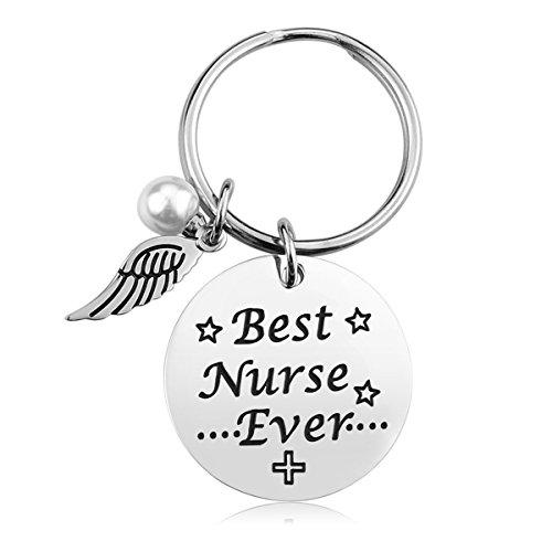 Nurse Keychain Gifts for Women - Nursing Keychain Jewelry Perfect Nurses Appreciation Gift for Birthday Graduation Christmas, Stainless Steel, Best Nurse Ever (Best Nurse Ever- Keychain)