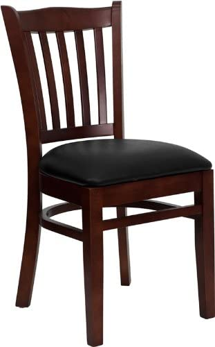 Flash Furniture 4 Pk. HERCULES Series Vertical Slat Back Mahogany Wood Restaurant Chair – Black Vinyl Seat