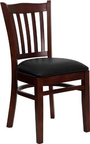Flash Furniture 4 Pk. HERCULES Series Vertical Slat Back Mahogany Wood Restaurant Chair - Black Vinyl Seat