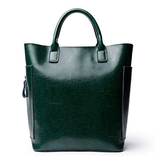 La mujer Xinmaoyuan Cubo de cuero Bolsos Bolso Wild casual simple bolsa de hombro cruzado diagonal bolso de cuero señoras bolso,Café Green