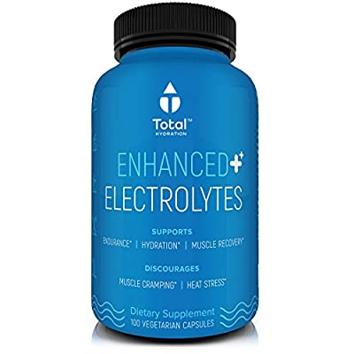 TOTAL HYDRATION Natural Himalayan Salt Electrolyte Replacement Capsules - #1 Ranked - Recovery from Endurance Sports, Heat, or Hangovers - Restores Energy, Reduces Cramps - 100 pills, USA Made