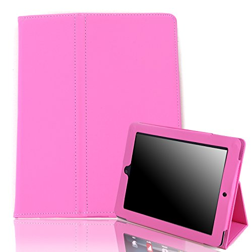 HDE iPad 1 Case - Slim Fit Leather Cover Stand Folio with Magnetic Closure for Apple iPad 1 1st Generation (Pink)