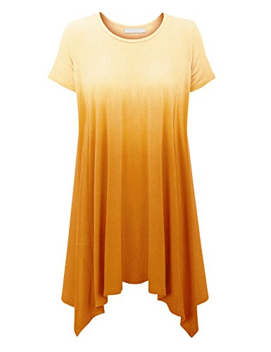 Yellow Side Panels - Made By Johnny WT1478 Womens Ombre Short Sleeve Oversized Side Panel Tunic Top XL Yellow