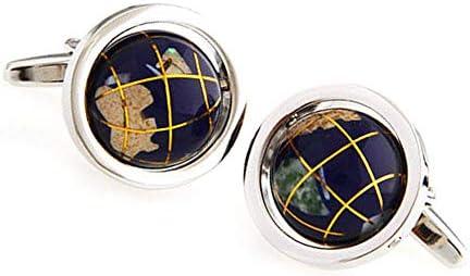 カフリンクス、ブルーの回転する球形シェルステッチカフリンクス(1ペア)、エレガントな収納ディスプレイボックスが付属、男性/女性用
