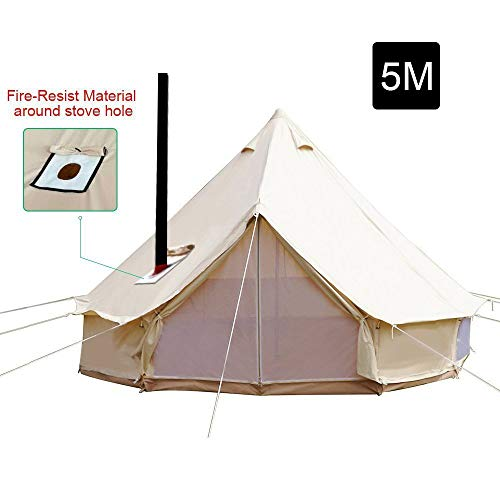 PlayDo 5M/16.4ft Waterproof Cotton Canvas Wall Tent Bell Yurts Tent with Stove Hole for 6-8 Person Camping Hiking Hunting Festival - Wall Canvas Tent