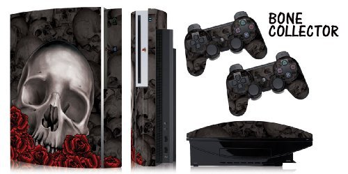 Designer skins for FAT Playstation 3 System Console, PS3 Controller skin included - BONECOLLECTOR BLACK