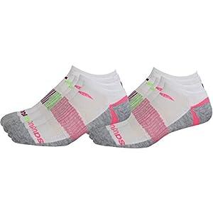 Saucony Women's Performance No-Show Sport Socks, White Asst, W 6-10.5 Shoe, 12 Pair