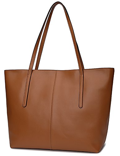 - Ilishop Women's New Fashion Handbag Genuine Leather Shoulder Bags Tote Bags Hot Sale (Brown)
