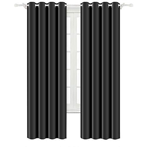 BEST DREAMCITY Blackout Grommet Triple Weave Microfiber Curtains for Bedroom (Black, W52 x L84,Set of 2)