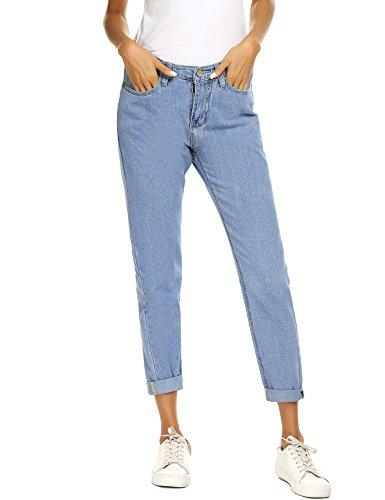 Skinny Droite Taille Coupe Mom Blue Femme Denim Jeans Romanstii Jeans Light Haute Slim Jean Basique Boyfriend Jeans FEYIYqw