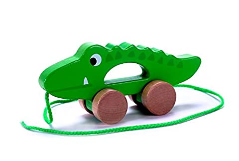 Adorable Crocodile Wooden Push & Pull Along Toy for Baby & Toddler - Rolls Easy, Sturdy String Attached to Animal | Classic Developmental Toy for 1 & 2 Year Old Boys & Girls