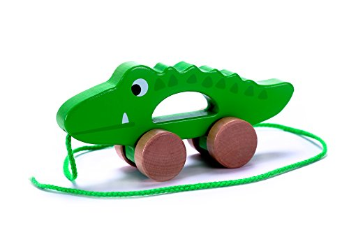 Fantastic Deal! Adorable Crocodile Wooden Pull Along Toy for Toddlers Boy & Girl, Rolls Easy, Sturdy...