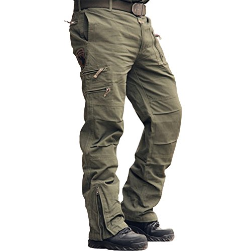 sunsnow 2016 New Brand Causal Cotton Multi-Pockets Outdoor Sport Camouflage Army Military 101 Airborne Cargo Pants Men (29, Army Green)